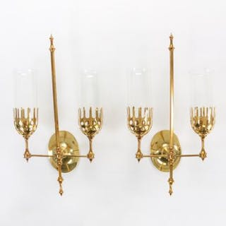 Bjørn Wiinblad: A pair of brass sconces with two branches