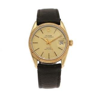 Tudor: A gentleman's wristwatch of gold plated metal and steel