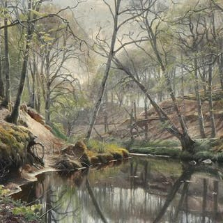 Peder Mønsted: View from a forest with a steam
