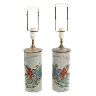 A pair of Chinese porcelain hatstands