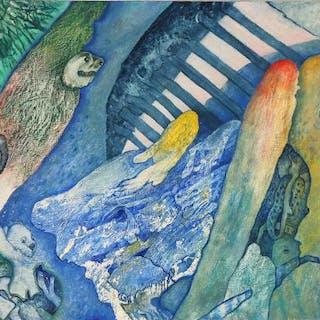 """Gunnar Saietz: """"En gang til"""". Signed Saietz 88. Oil on board. 42×61 cm."""