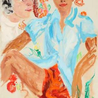 Kirsten Kjær: Two persons. Unsigned. Oil on canvas. 88×58 cm. Unframed.