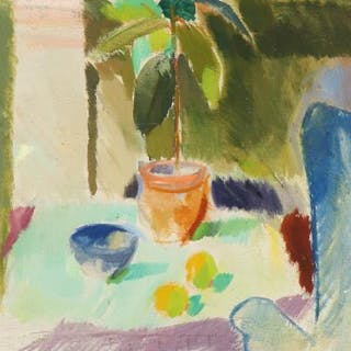 Poul S. Nielsen: Interior with easy chair and plant