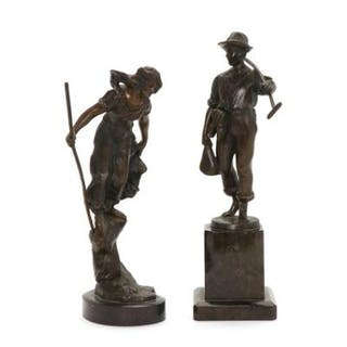 Two c. 1900 patinated bronze figurines signed C