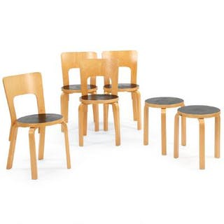 Alvar Aalto: Set of four dining chairs and two stools with birch frames