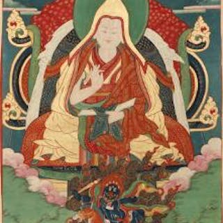 A thangka of a Gelugpa lama seated on a throne in dhyanasana