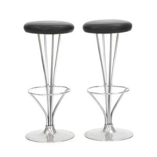 Piet Hein: A pair of bar stools with chromium-plated steel frames