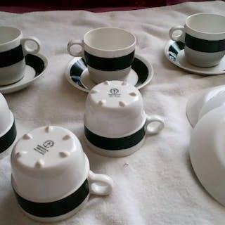 Gustavsberg Kaffekopp Grön/vit Benporslin  B 555