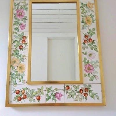 Otrolig vackert spegel keramik handmålad
