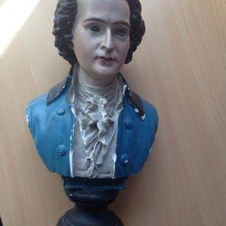 Mycket vacker skulptur byst Wolfgang Amadeus Mozart 1800-tal, signerad Barzotti