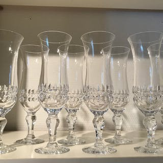 8 Champagneglas KARNEVAL Skruf Bengt Edenfalk slipade glas kristall 1970-tal