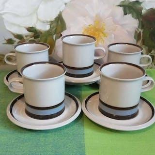 5 st Kaffe/Tekoppar med fat - ARABIA SUVANTO - Raija Uosikkinen, Nytt skick