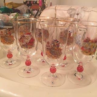 Vackert Öl/Vatten Kristallglas Disney Fyrklövern Musse Pigg och Pluto/
