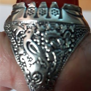 gammal antik äkta persiska stort silverring stämplat 925 + äkta stort agat sten