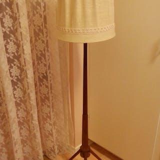 Retro RAKETLAMPA golvlampa raket lampa trebent lampfot lampskärm belysning