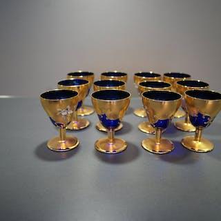 Glas 12 st Remmare Blå - Guld