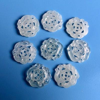 8 st Antika Kinesiska hand skuret Jade Amulett/hänge