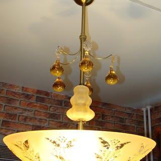 Art Deco Taklampa Med Sandblästrad & Graverad Råglas