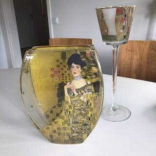Gustav Klimt Klint vas och ljushållare glas konst