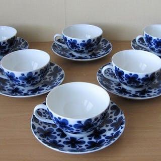 6 Kaffekoppar Med Fat Mon Amie Marianne Westman Rörstrand Orginal