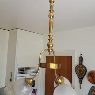 Taklampa mässing och glas 40tal handgjort