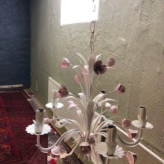 FANTASTISK FIN Italiensk taklampa decor i blommor och blad FINT SKICK