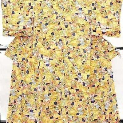 Äkta japansk vintage kimono,komon,gul mörkblå,siden silk,bildkort