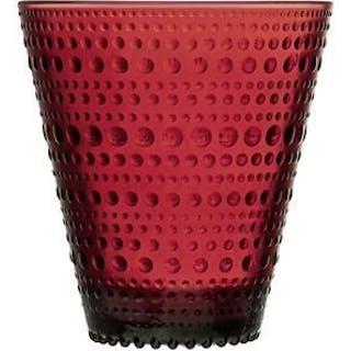 Iittala Oiva Toikka Kastehelmi röda stora dricksglas, nya i original emballage!