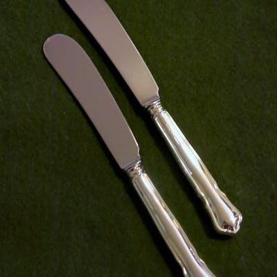 2 Smörknivar Chippendale Äkta Silver Toppskick!