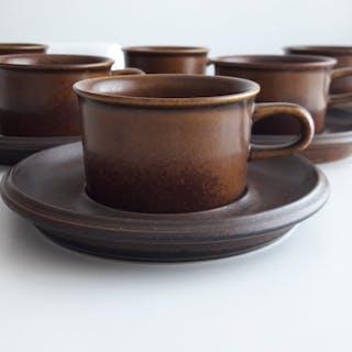 Arabia 6 st kaffekoppar / koppar med fat