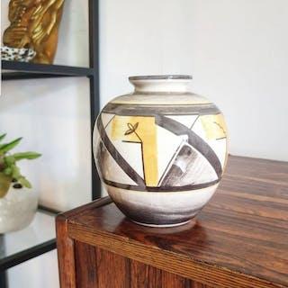 Arthur Percy - Upsala Ekeby Gefle - En Sällsynt Handmålad 30tals Art Deco Vas