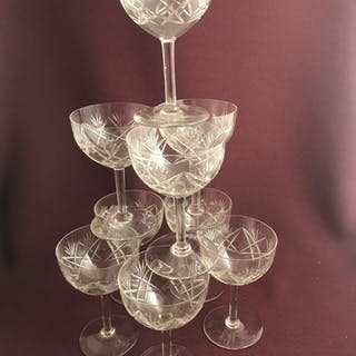 Kosta boda -  Helga / Annanas slipning 10 st Champagne Coupe glas - design