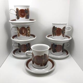 Arabia ROSMARIN ANEMONE - 6 Kaffekoppar Med Fat - Ulla Procopé