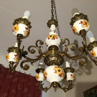 Vintage  6-armad taklampa mässing/fajans