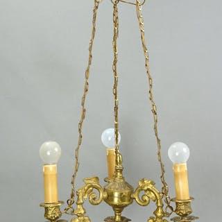 Äldre mässing trearmad krona taklampa lampa retro vintage