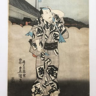 original Japanese woodblock print Utagawa Kunisada 1  made in mid 19thc