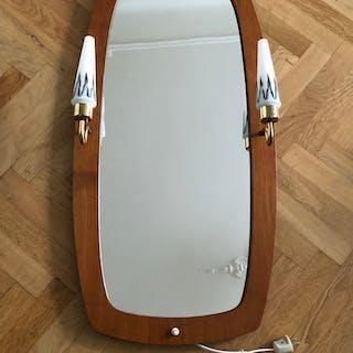 Spegel med träram av teak och lampetter -  Retro - 50/60-talet