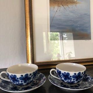 2 st Kaffekoppar med kaffefat: Mon Amie Marianne Westman, Rörstrand original