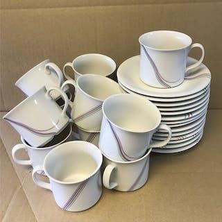 Rörstrand. 12 st kaffekoppar & 14 fat, modellen RAINBOW av Bertil VALLIEN