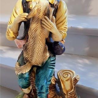 Praktfull stor och tung skulptur/staty. Jägare med hund. Toppskick!!