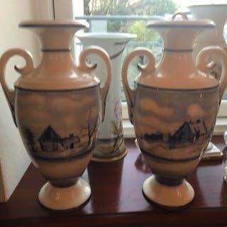 Ett par antika vaser Rörstrand handmålad dekor h 33 cm fina
