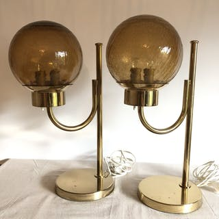 Bergboms bordslampa bordslampor retro mässing glaskupa
