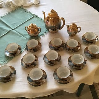 Japanskmokaservi 12 st kaffekanna sockerskål gräddkanna