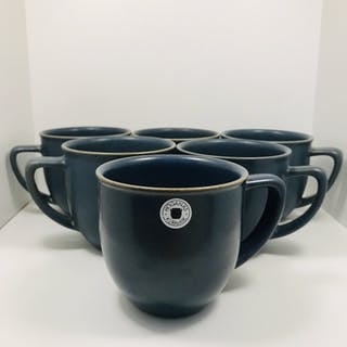 Höganäs Keramik M-L Hellgren Collection - 6 CLUB Kaffekoppar - Vossblå