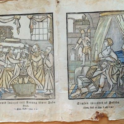 Kistebrev 2 st i ett ark mycket gamla original som handlar om David och Simon