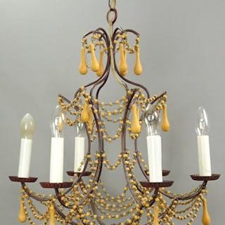 Äldre lampa taklampa i kristallkrona stil i metall koppar ? trä retro vintage
