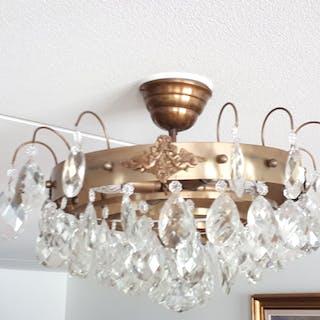EXTRA Fin Kristallkrona Plafond modell Brons Äkta kristaller Jordad el 1900 tal