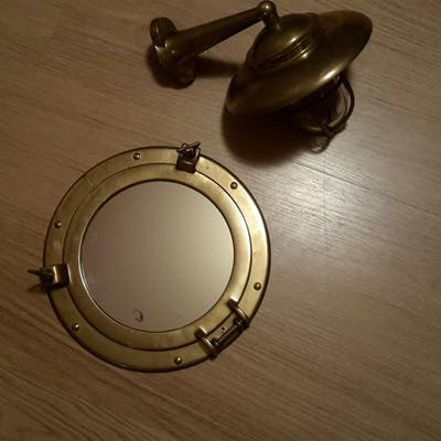 Set fönsterventil spegel och skeppslampa