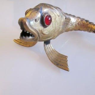 Ledad fisk antik articulated antique fish