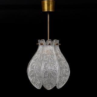 Carl Fagerlund taklampa glas och mässing h 48 cm d 22 cm